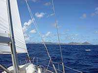 Sailing towards St. Barths