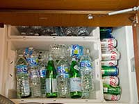 Drinking supplies in the galley