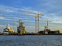 Shipyards working on naval vessels