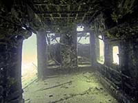 Inside the airplane wreck