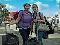 Desi and Agathe upon arrival