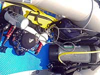Dive gear in the dinghy