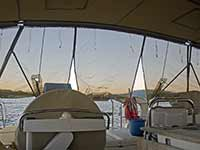 Sunshades at the stern