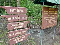 Fort Shirley signage and warnings