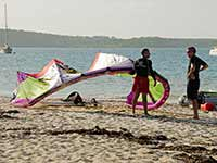 Windsurfers on the beach