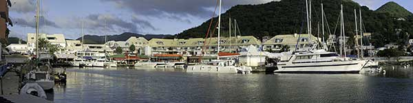 Panorama of the Port Louis marina in Marigot