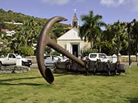 Anchor and Presbyterian church in Gustavia