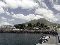 Nevis port and mountain