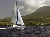 Hugging the Nevis coast