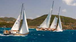 Two lottery-class racers going upwind