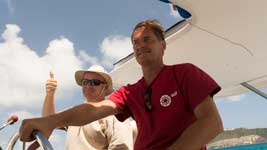 Arnd and Mark on catamaran delivery