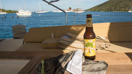 Island Hoppin Ale with Saba Rock in the background