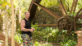 Sascha at the water wheel