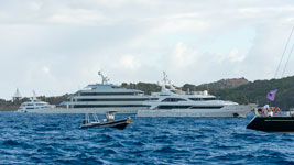 Megayachts lines up at the Bucket