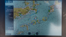 Chartplotter display of the BVI
